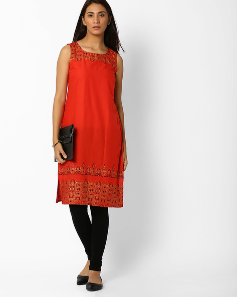 Sleeveless Cotton Straight Kurta By AURELIA ( Orange )