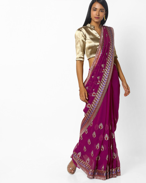 Embroidered Saree With Paisley Motifs By CHHABRA 555 ( Purple )