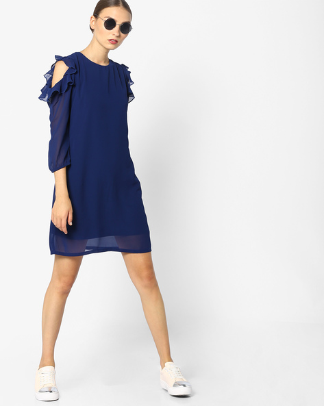 Shift Dress With Ruffled Cold-Shoulder Sleeves By AJIO ( Navyblue )