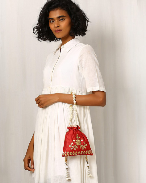 Embroidered Pure Raw Silk Potli Bag By Molcha ( Red )