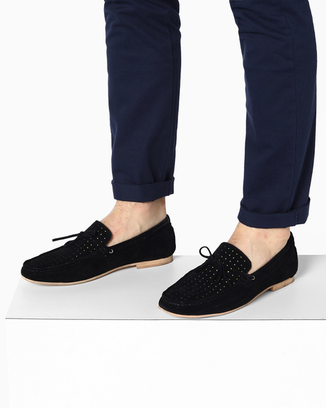 Suede Boat Shoes With Perforated Design By Acuto ( Black )