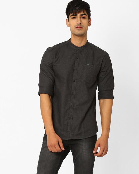 Slim Yarn-Dyed Shirt With Mandarin Collar By Lee ( Black )
