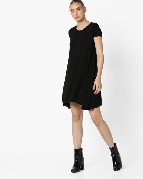 Shift Dress With Asymmetric Hem By Pink Woman ( Black )