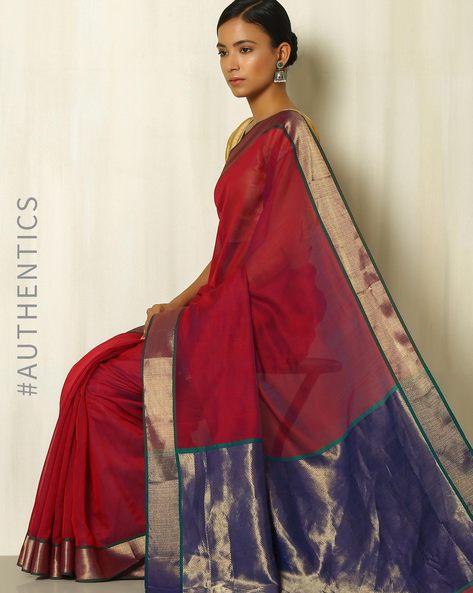 Handloom Maheshwari Silk Cotton Saree With Zari By Indie Picks ( Red )