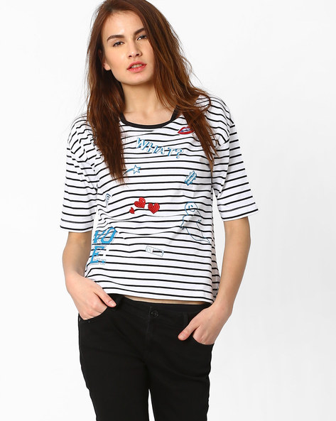 Striped T-shirt With Drop Shoulder Sleeeves By AJIO ( Black )