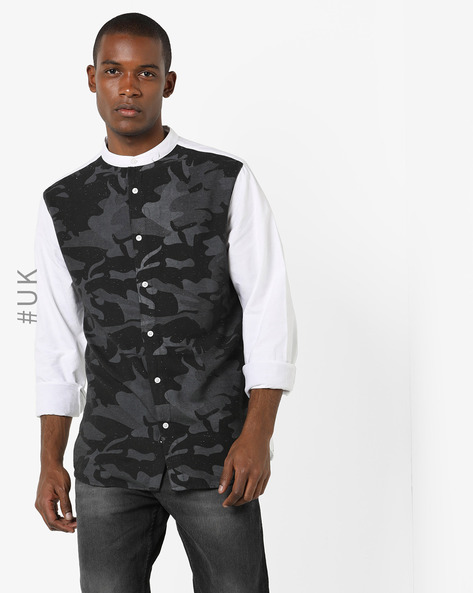 Camo Print Shirt With Band Collar By BRAVE SOUL ( White )