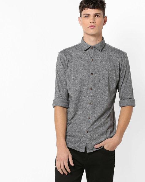 Heathered Shirt With Curved Hemline By BASICS ( Grey )