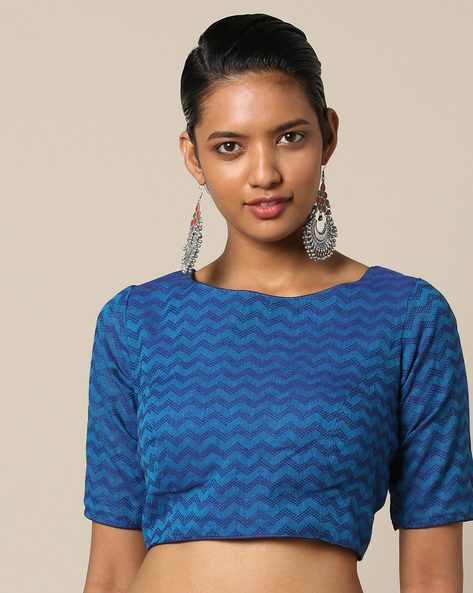 South Cotton Dobby Blouse With Back Tie-Up By Indie Picks ( Blue )