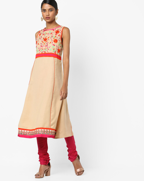 Sleeveless Kurta With Floral Embroidery By Indian Ink ( Beige )