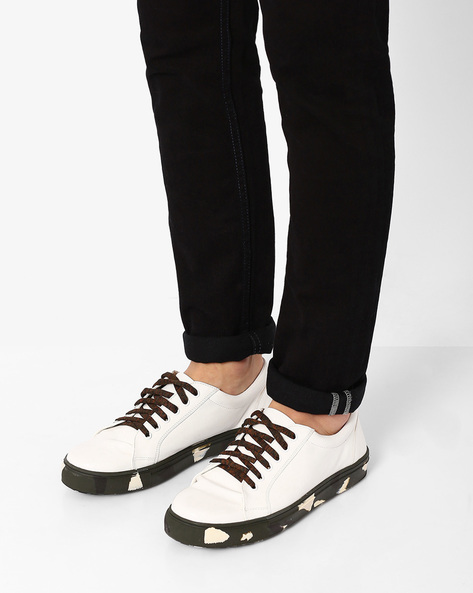 Faux-Leather Sneakers With Printed Outsole By AJIO ( White )