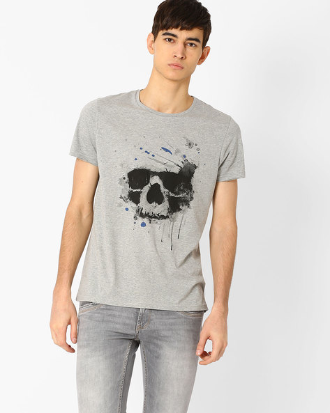 Skull Print T-shirt By AJIO ( Greymelange )