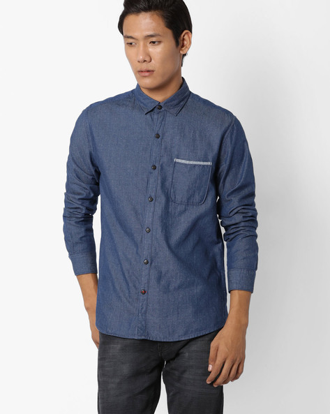 Regular Fit Printed Cotton Shirt By NETPLAY ( Blue )