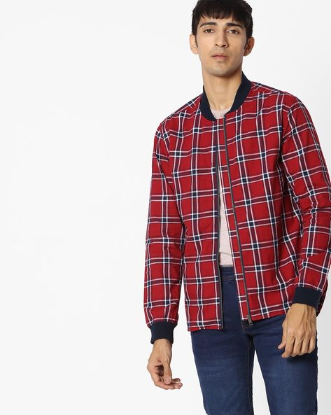 Checked Shirt With Contrast Collar By DNMX ( Red )