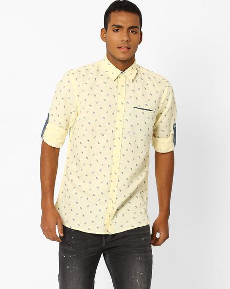 Paisley Print Slim Fit Shirt By Jack & Jones ( Yellow )