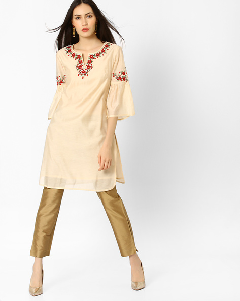 Embroidered Tunic With Bell Sleeves By AJIO ( Offwhite )