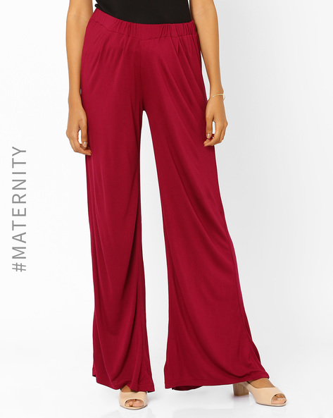 Pleated Maternity Palazzo Pants By AJIO ( Black )