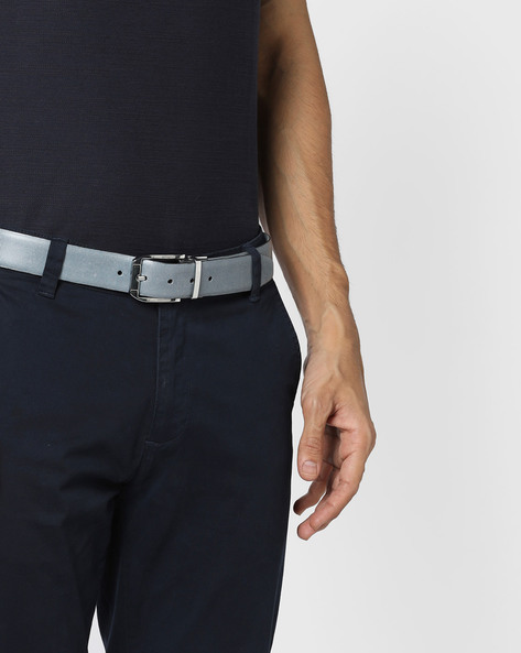 Checked Genuine Leather Belt By ALVARO CASTAGNINO ( Blue )