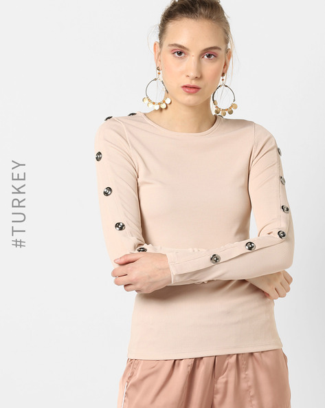 Crew-Neck Top With Button-Down Sleeve By TRENDYOL ( Beige )