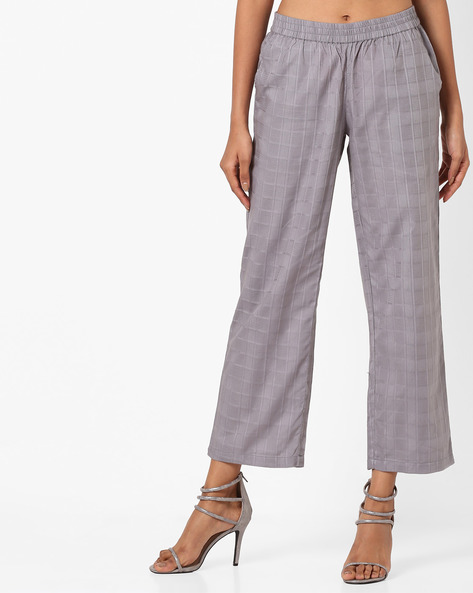 Checked Pants With Elasticated Waist By AJIO ( Grey )