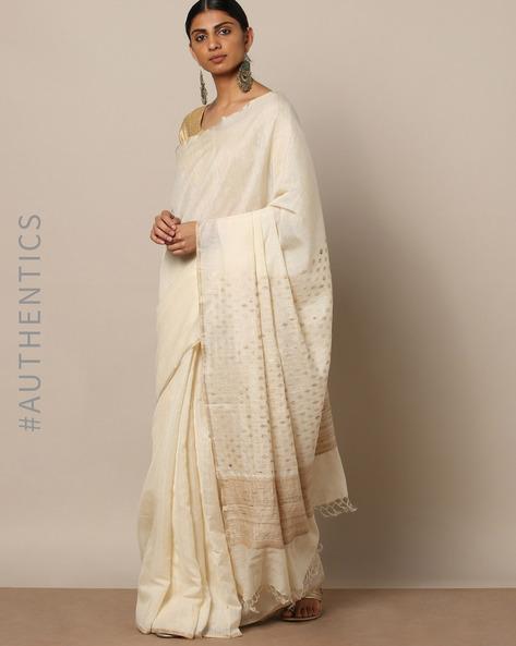 Handloom Pure Silk Cotton Saree By Indie Picks ( Offwhite )