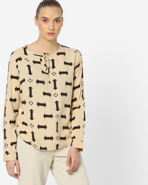 All-Over Print Top With Neck Tie-Up By Amari West ( Beige )
