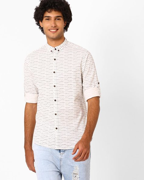 Printed Slim Fit Shirt With Button-Down Collar By AJIO ( Offwhite )