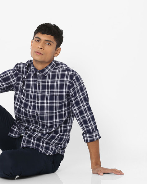 Checked Slim Fit Shirt With Patch Pocket By Locomotive ( Multi ) - 460160162001