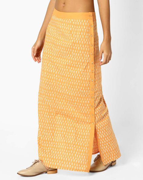 Block Print Maxi Skirt With Slit By AJIO ( Mustard )