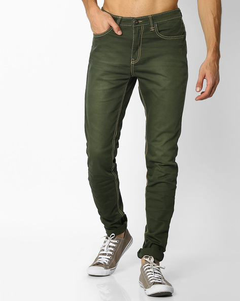 Lightly Washed Skinny Fit Jeans By DNM X ( Olive )
