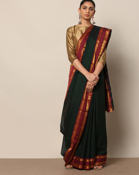 South Cotton Stripe Saree With Contrast Zari Border By Indie Picks ( Green )