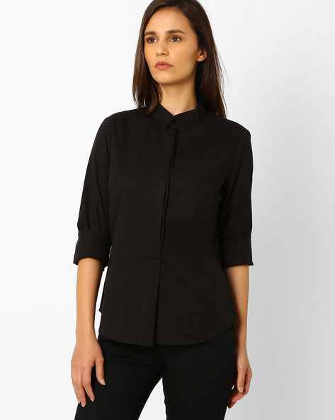 Shirt With Concealed Button Placket By WRANGLER ( Black )