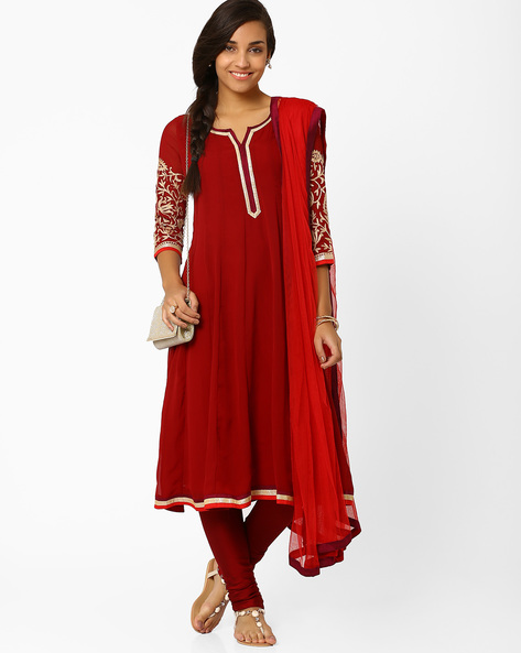 Flared Churidar Kurta With Dupatta By AJIO ( Maroon )