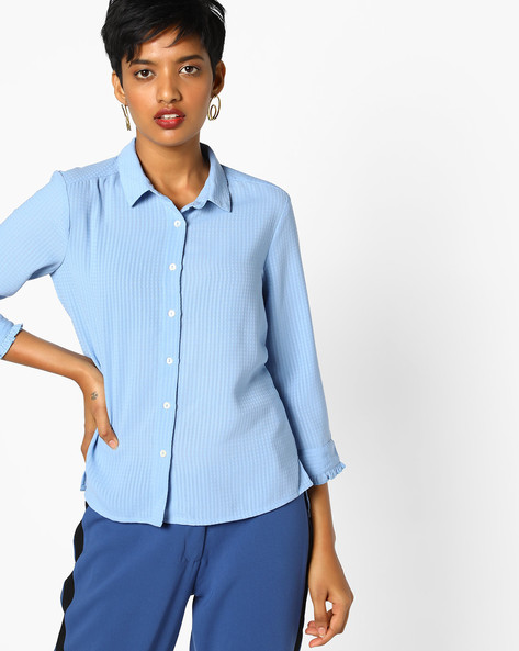 Textured Shirt With Ruffled Cuffs By AJIO ( Blue )