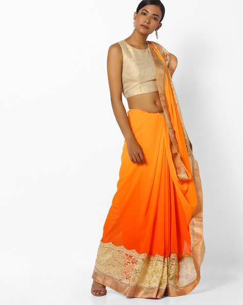 Ombre-Dyed Saree With Contrast Border By CHHABRA 555 ( Mustard )