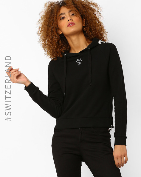Short Sweatshirt With Printed Hood By TALLY WEiJL ( Black )