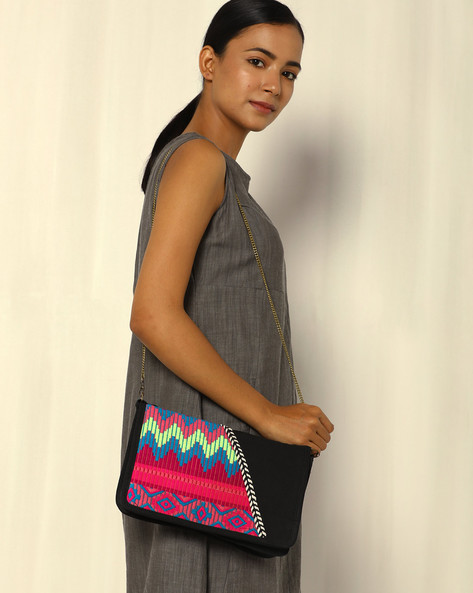 Canvas Sling Bag With Embroidery By THEEA ( Black )