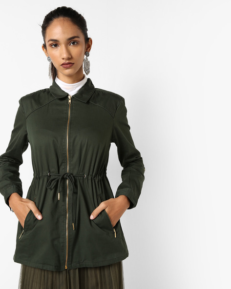 Collared Jacket With Drawstring Waist By AJIO ( Olive )