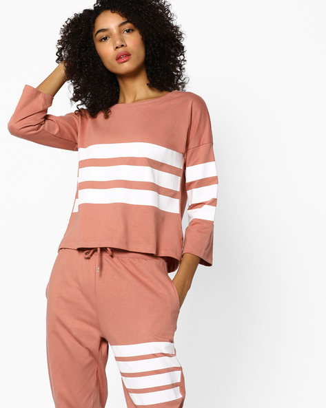 Striped Top With Drop Shoulders By AJIO ( Nude )
