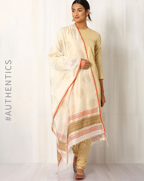 Hand Block Print Maheshwari Dupatta By Indie Picks ( White ) - 460017086001
