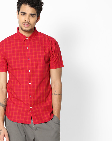 Checked Shirt With Spread Collar By UNITED COLORS OF BENETTON ( Assorted )