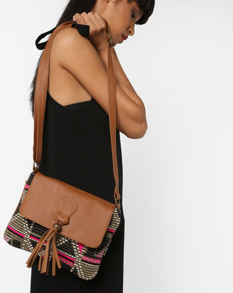 Jacquard Weave Sling Bag By Kanvas Katha ( Tan ) - 460124244001