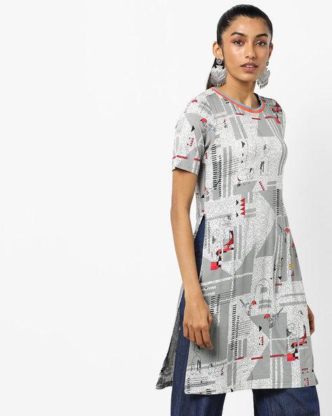 Graphic Print Tunic By Global Desi ( Grey )