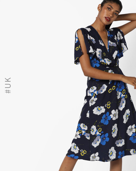 Floral Print Dress With Plunge Neckline By INFLUENCE ( Navy )