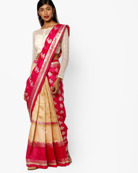 Half & Half Bhagalpuri Silk Printed Saree By Ishaya ( Red )