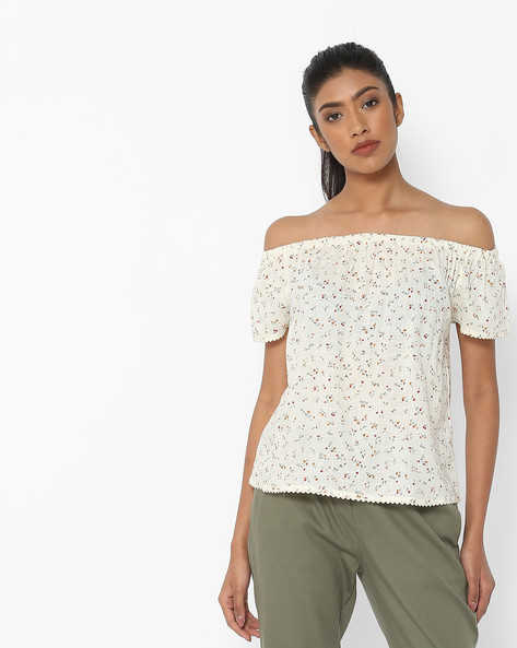 Floral Print Off-Shouldered Top By DNMX ( Yellow )