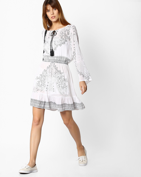 Printed Dress With Elasticated Waist By FIG ( White )