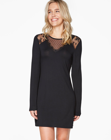 Longline Lounge Top With Lace Panels By Hunkemoller ( Blk )