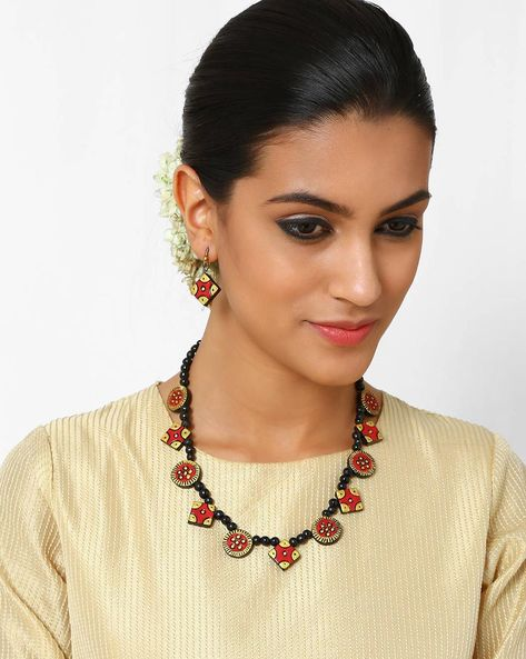Handmade Terracotta Necklace Set By Kalamayi ( Peach )