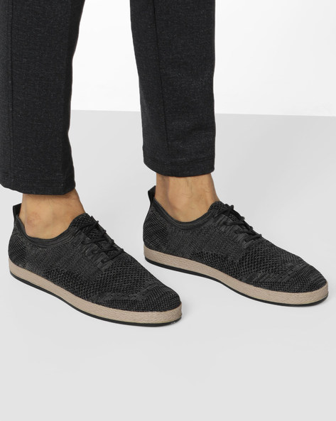 Lace-Up Shoes With Patterned-Knit Upper By AERO BLUEZ ( Grey )