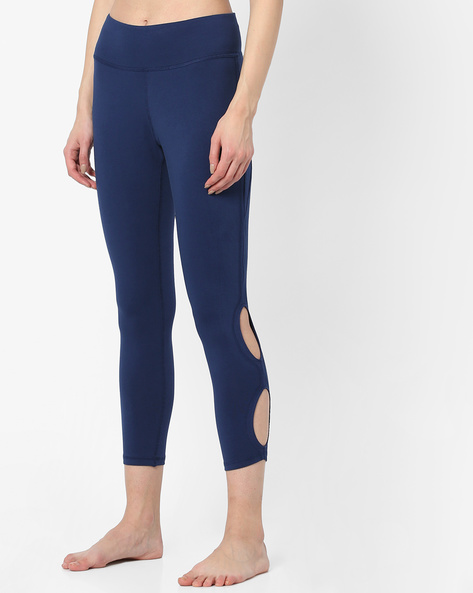 Leggings With Cut-Outs By AJIO ( Navy )